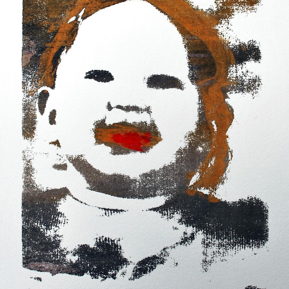 Zelfportret kind zeefdruk - 30x20cm