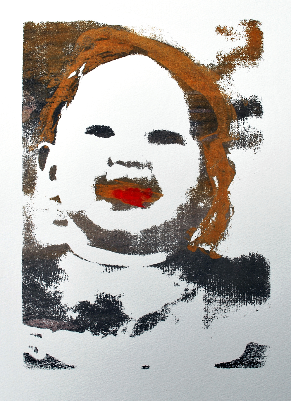Zelfportret kind^ zeefdruk - 30x20cm