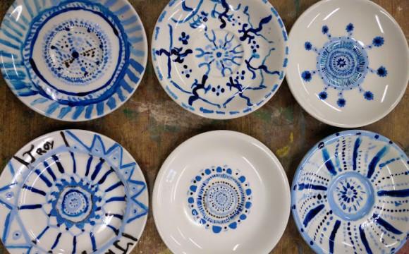 groep 7 delfst blauwe borden schilderen